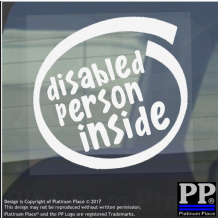 1 x Disabled Person Inside-Window,Car,Van,Sticker,Sign,Vehicle,Adhesive,Badge